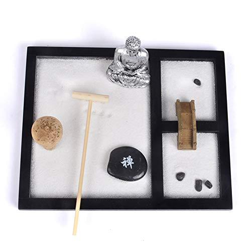 Jardin Zen Bouddha Yoga Lady Ornement Statue Pierre naturelle Sable en rotin d'encens en bois Râteau Ensemble cadeau avec 6 types de Râteaux, 2 figurines de méditation, Sable et rochers