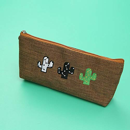 Pencil Box Solid Color Pen Bag Cartoon Embroidery Large Capacity Oxford Cloth Cover Student,Cactus