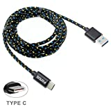 Black Braided 6ft Long Type-C Cable Rapid Charger Sync USB Wire USB-C Power Data Transfer Cord for Cricket ZTE Grand X Max 2 - Cricket ZTE Grand X3 - Cricket ZTE Grand X4 - MetroPCS Alcatel 7