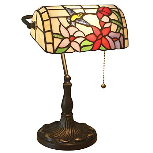 GDXH Lámpara de Mesa de banquero 10 Pulgadas Vintage Estilo Tiffany Vidrieras Pastoral Rose Tulip Shade Escritorio...