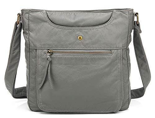 Scarleton Large Crossbody Shoulder Bag for Women, Ultra Soft Washed Vegan Leather, Ash, H181224
