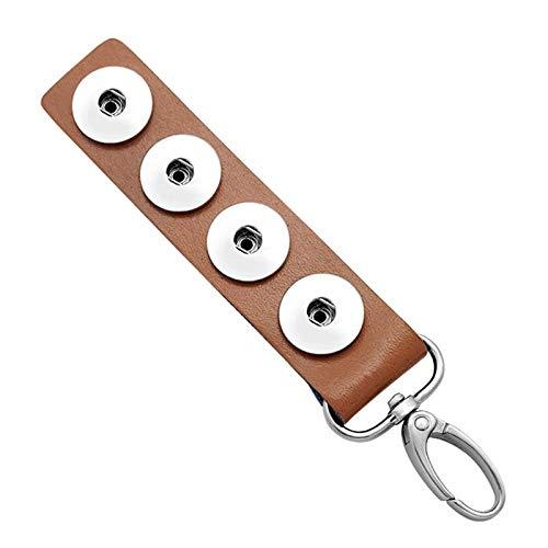 WUCHENG 4 Botones Pueden Colgar 10 Colores del Anillo de Llavero de Cuero Adecuado para joyería de retención de 18 mm Llavero (Color : Azul)