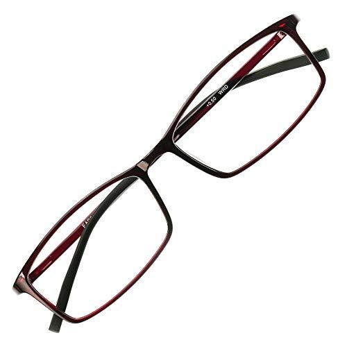 アイウェアエア 老眼鏡 おしゃれ メンズ レディース ブルーライトカット +0.5〜+3.5 4色 スクエア ワインレッド +1.00