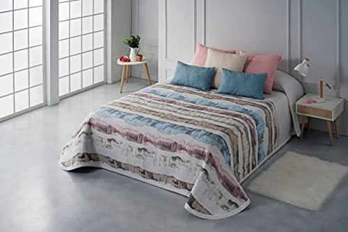 Textilia - Colcha Piqué Menorca (1 Beig, Rosa Nube y Azul Cielo, 90)