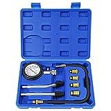 8PCS Compression Tester Kit Professional Petrol Gas Engine Cylinder Pressure Gauge 0-300 PSI Automotive Tool for Motorcycle Car Truck (Blue)