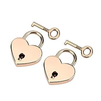 idalinya 2 Sets Heart-Shaped Padlock Skeleton Key Metal Lock for Luggage Diary Book Jewelry Box Marriage Wedding Padlock Travel Supplies Tokens of Love