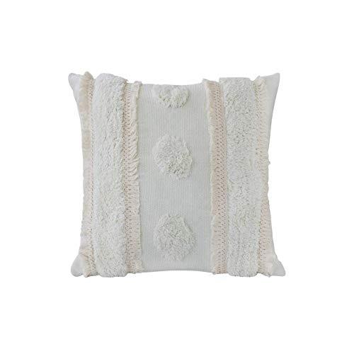 1 Stück kissenhülle Boho Dekorative kissenbezug, Baumwolle dekokissen Kissenbezüge mit Getuftete Spitze Quaste für Sofa Schlafzimmer Wohnzimmer Super Weich Sofakissen Kopfkissenbezug 45x45cm (Creme)