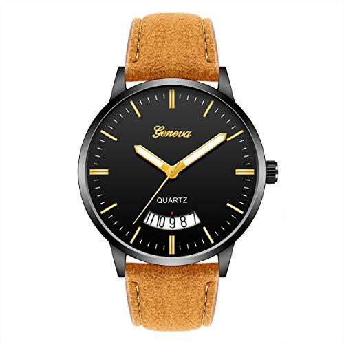 Relojes Fecha del Calendario de la Moda de los Hombres de Metal Reloj de Pulsera del Abrigo del Cuero Cuarzo Reloj de Pulsera Digital de los Hombres (Size : 8)