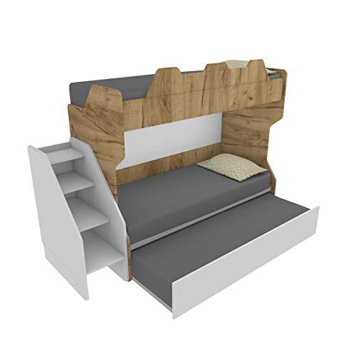MOBILFINO CAMERETTE SMARTR Litera con tercera cama extraíble y elevable, 80 x 190 cm, fabricada en Italia, roble y blanco