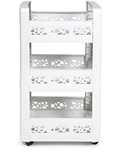 Ondis24 Nischenregal Mobilo, Küche Bad, Küchenregal schmal, Badregal mit 360° Roller, Rollwagen 3 Fächer, Küchenwagen (weiß)