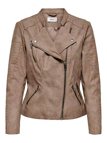 ONLY Damen ONLAVA Faux Leather Biker OTW NOOS Lederjacke, Woodsmoke, 38