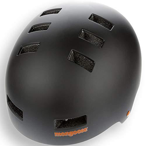 Mongoose Urban Youth/Adult Hardshell Helmet for Scooter, BMX, Cycling and Skateboarding, Medium/56-59cm, Black/Orange