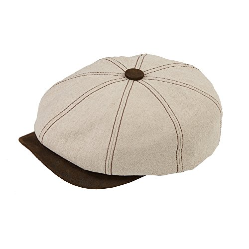 DASMARCA Lucca Natural Unisex Summer Linen Bakerboy Newsboy cap - L