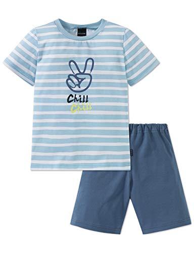 Schiesser Jungen Rat Henry Kn Anzug kurz Zweiteiliger Schlafanzug, Blau (Hellblau 805), 98 (Herstellergröße: 098)