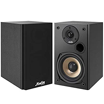 Passive Speakers Moukey Bookshelf Speakers Pair 100W Compact Wooden Home Theater Studio Wall-Mountable Near Field, Black by Moukey