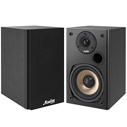 Moukey 100 Watts Home Theater Bookshelf Speakers Wall-Mountable (Pair) - 2.0 Near Field Stereo Speakers, Wooden Enclosure Passive Bookshelf Speakers, Black - M20-1