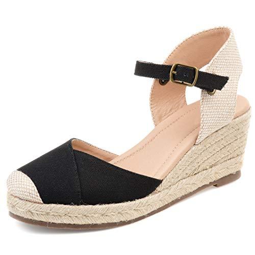 Women's Platform Wedges Espadrilles, 2' Wedge, Soft Ankle Strap, Closed Toe, Classic Summer Sandals