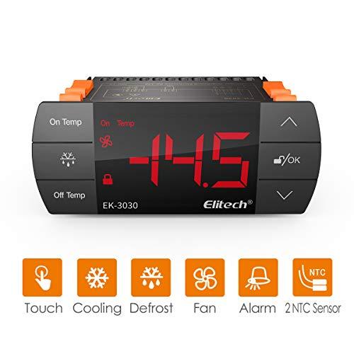 Elitech EK-3030 Digitaler Temperaturregler/Thermostat Doppelrelais mit Kühler Heizung Ventilator Deforest Alarm für Hausbrauen/Grünhaus/Kaltraum Schwarz