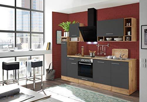 respekta Küchenzeile Küche Küchenblock Einbauküche Komplettküche 250 cm Wildeiche grau inkl. Geräte