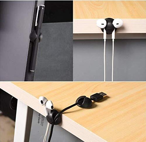 Adkwse 20 Stück Kabelhalter Selbstklebend, Kabelclips Kabelführung Ladekabel Organizer Set für Schreibtisch, Netzkabel, USB Ladekabel, Ladegeräte, Audiokabel (Schwarz)