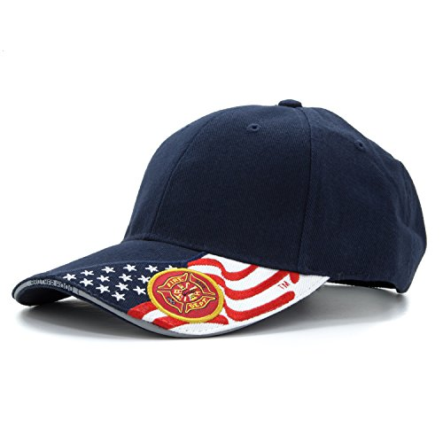 Army Force Gear Embroidered Basball hat with Fire Department and American US Flag, Adjustable Baseball Cap, Navy Blue