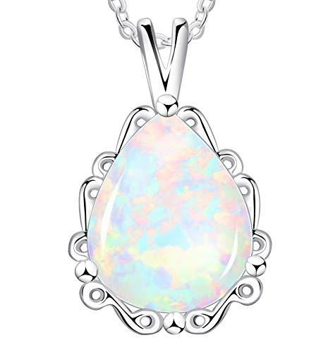 KristLand - Moonlight Kette Damen,Damenschmuck- Leuchtend Erstellt Weißer Opal Anhänger aus Sterlingsilber mit Anhänger Träne Wassertropfen Form Halskette,Geschenk für Frauen/Mädchen/Hochzeiten/Party