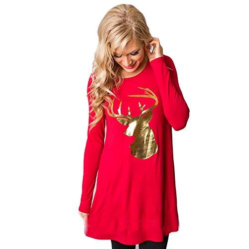 SHOBDW Damen Herbst Mode Jahrgang Weihnachten Stil Elegant Simplicity Hirschkopf Drucken Tops Frauen Langarm Pullover Lang Bluse Shirts Mini Röcke Gemütliches ausgestelltes Kleid Abendkleid