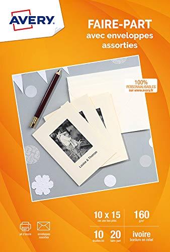 AVERY - Pochette de 20 cartes faire-part ivoire (160g/m²), Personnalisables et imprimables, Format A6 (4 par page), Impression jet d'encre,