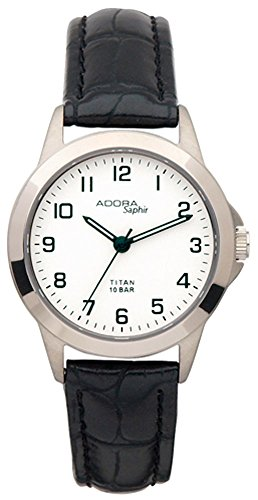 Damenuhr Armbanduhr Quarzuhr Analoguhr Titan mit Saphirglas Adora Saphir 29086, Variante:01