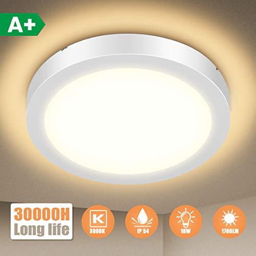LED Deckenleuchte Bad, SOLMORE 18W IP54 Wasserfest 1700lm Badlampe, 3000K Warmweiß LED Deckenlampe, Lampen Ideal für Badezimmer Schlafzimmer Flur Küche und Balkon, Ø23cm