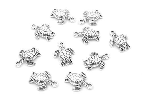 Anhänger Schildkröte in antik silberfarben 10 Stück von Vintageparts zum Schmuck selber Machen Schmuckanhänger Metallanhänger Kettenanhänger Tieranhänger