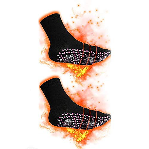 Queta Thermosocken Beheizbare Socken Winter Socken Magnetsocken Turmalinsocken Winter Socken Fußwärmer Schuhheizung Fußheizung Winter Heizsocken für Damen Herren, Schwarz, Eine Größe