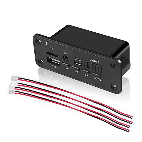 USDWR Decoder de Reproductor de MP3 Manos Libres Bluetooth 5.0 Player MP3 Decoder Board 2 x 3W Altavoz Coche Módulo de Radio FM 5V TF USB AUX Audio para automóvil Manos Libres
