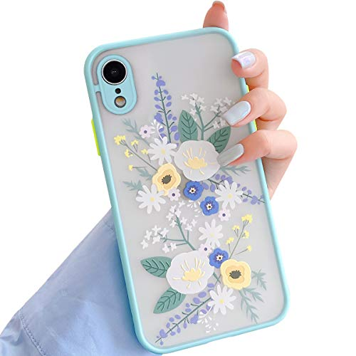 Ownest. Compatible with iPhone XR Case for Clear Flowers Pattern Frosted PC Back 3D Floral Girls Woman and Soft TPU Bumper Protective Silicone Slim Shockproof Case for iPhone XR- Blue