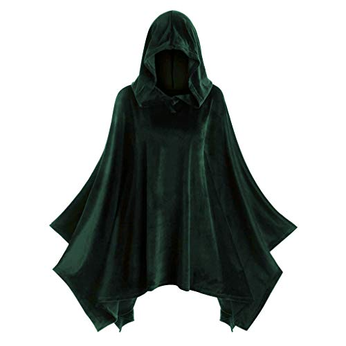 LOPILY Umhang Kleid mit Kapuze Vintage Wasserfall Samtumhang Cape Vampir Kostüm Halloween Damen Cosplay Umhang Prop für Halloween Masquerade Mittelalter Bekleidung Karneval Kostüme (Grün, 40)