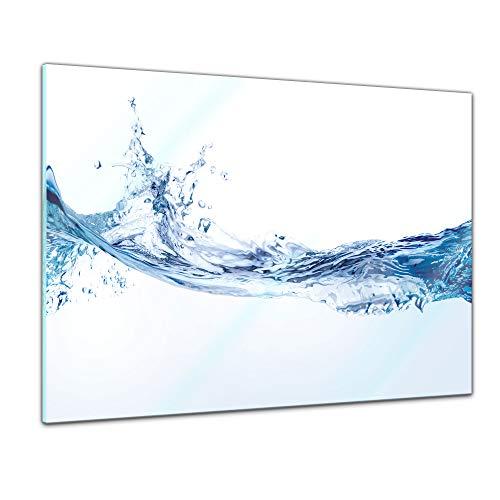 Glasbild - Wasserspritzer - 60 x 40 cm - Deko Glas - Wandbild aus Glas - Bild auf Glas - Moderne Glasbilder - Glasfoto - Echtglas - kein Acryl - Handmade