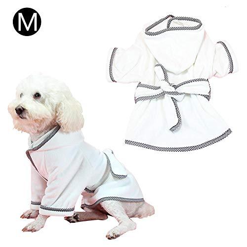 New Pet Robe Cat Dog Pijamas calientes, albornoz para perros Suave Súper absorbente Lujosamente 100 microfibra Toalla de secado para perros Toga con capucha / cinturón Absorbente Albornoz de baño