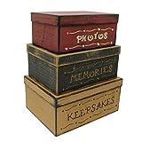 CVHOMEDECO. Primitive Vintage Rectangular Fotos, Recuerdos, Recuerdos Cajas Nido de Cartón, Grandes 30,5 x 22,9 x 14 cm. Juego de 3.