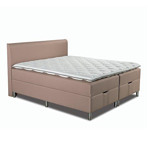 Betten-ABC Boxspringbett Schwarzwald Comfortbox Tonnentaschenfederkernmatratze+ Topper+ Bettkasten - Grösse 160 x 200 cm - Härtegrad 10 - Stoff Beige