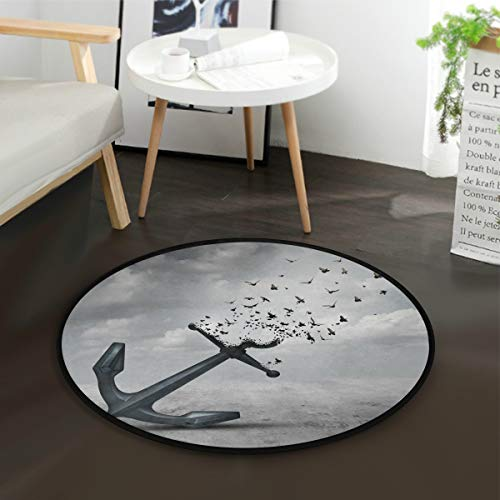 Letting Go Teppich mit Anker-Motiv, rund, rutschfest, bequem, für Wohnzimmer, Schlafzimmer, 92 cm Durchmesser