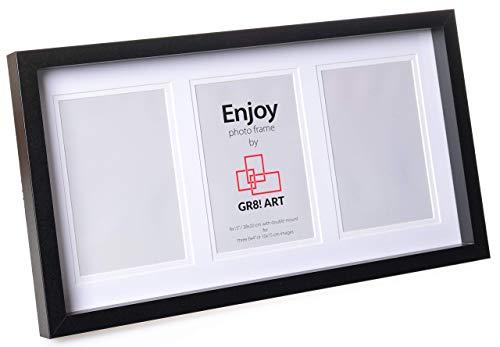 Gr8! Art Enjoy - Fotolijstje voor 3 10x15 foto's - Zwart - Stijlvolle fotolijst met 3D fotobox effect (2cm diep) en dubbel passpartout - Eenvoudig in gebruik en geschikt voor familiefoto's of cadeau