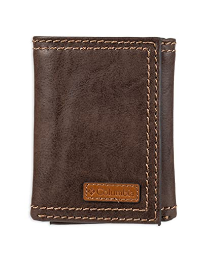 Columbia Men's RFID Genuine Leather Trifold Wallet With ID Window, Credit Card Pockets