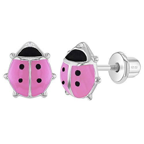 In Season Jewelry - Mädchen - Schraubverschluss Ohrringe Emaille Marienkäfer 925 Sterling Silber Rosa