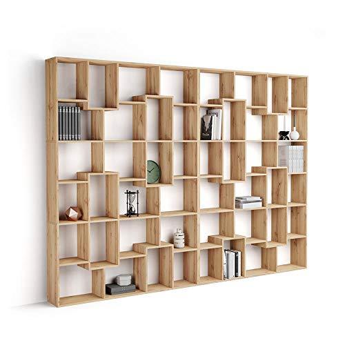 Mobili Fiver, Libreria a Parete XL Iacopo (236,4 x 321,6 cm), Rovere Rustico, Nobilitato, Made in Italy, Disponibile in Vari Colori