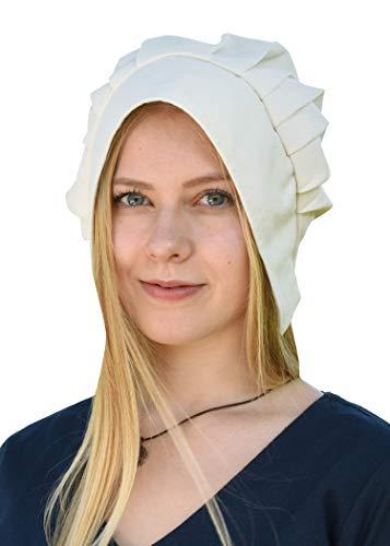 Battle-Merchant Mittelalter Haube mit gelegten Falten für Damen - Damenhaube - Mittelalterhaube - Kopfbedeckung (Natur)