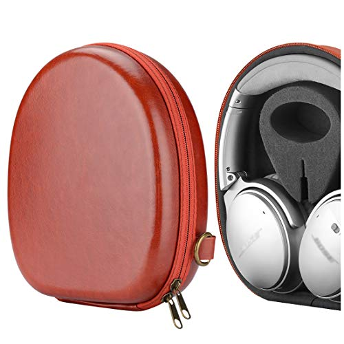 Geekria UltraShell Headphones Case Compatible with Bose QC45, QC35, QC35 Series II, QC25, QC15, SoundLink II Case, Replacement Hard Shell Travel Carrying Bag with Cable Storage (Vermilion)