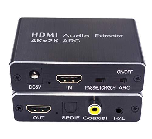 HDMI Audio Splitter Converter Unterstützt ARC / 3D / 4Kx2K für analoges Audio, linker und rechter Kanal 5.1