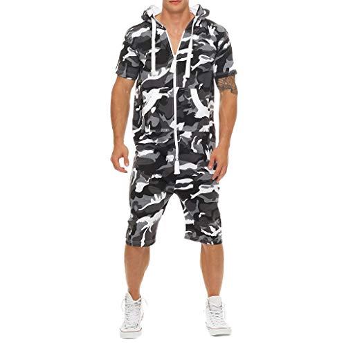 FRAUIT Plus Size Jumpsuit Herren Camouflage Kurzarm Kurz Overall Sommerjumpsuit kurz Anzug Overall Onesie Jumpsuit Mode Pure-Color Large Size Kleidung Button Jumpsuit