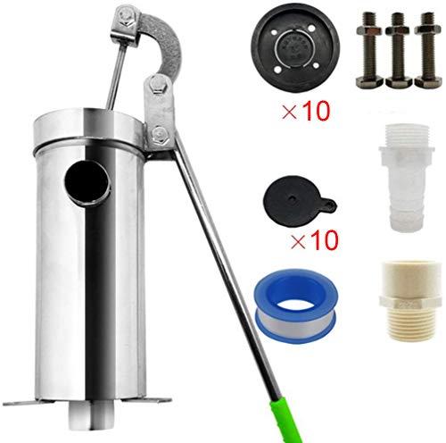 FCCD Stahl Handpumpe Well Kill Pump Edelstahl Wasser Shaker Home Well Pump Pumping Handbuch Wasserpumpe Handkurbelpumpe Handpumpe Interne Taste Pumpenabdeckung Übergroßes Wasser