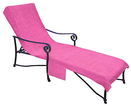 Pool Side 1000-Gram Chaise Cover, Pool Lounge Chair Cover, Lawn Chair Cover, Patio Chair Cover with 10-Inch Slip-on Back and Side Pocket Pool Prism Pink